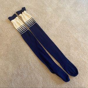 NEW FREE PEOPLE Thigh High Navy Bowler Socks